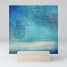 Decorative Blue Writing Texture Vintage Mini Art Print