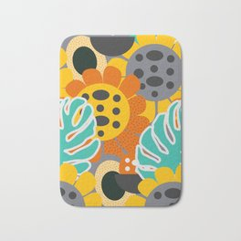 Sunflowers and leaves Bath Mat