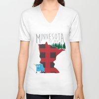 minnesota V-neck T-shirts featuring Minnesota Lumberjack by Sara Hynes Designs