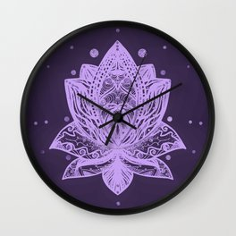 Gentle Pastel Violet Lotus Flower Wall Clock