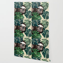 Sneaky Sloth with Monstera Wallpaper