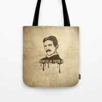 tesla Tote Bags featuring Nikola Tesla  by badbugs_art