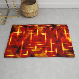 Red gold highlights on a yellow metal background. Rug