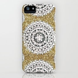 Gold litter and Silver Mandala Patterned Textile iPhone Case