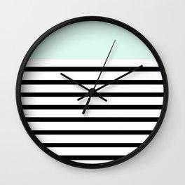 Pinstripe Color Block (Mint) Wall Clock