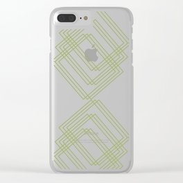 Green Squares Clear iPhone Case