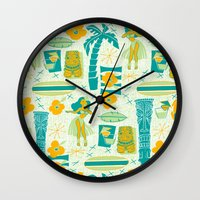 mid century Wall Clocks featuring Mid-Century Tiki by Aimee Steinberger