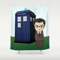 dr who Shower Curtains featuring Kokeshi Dr. Who by Pendientera