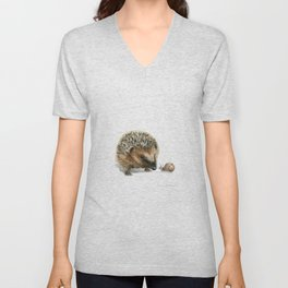"""Close Encounter"" painting of a Hedgehog and Snail by Teresa Thompson Unisex V-Neck"