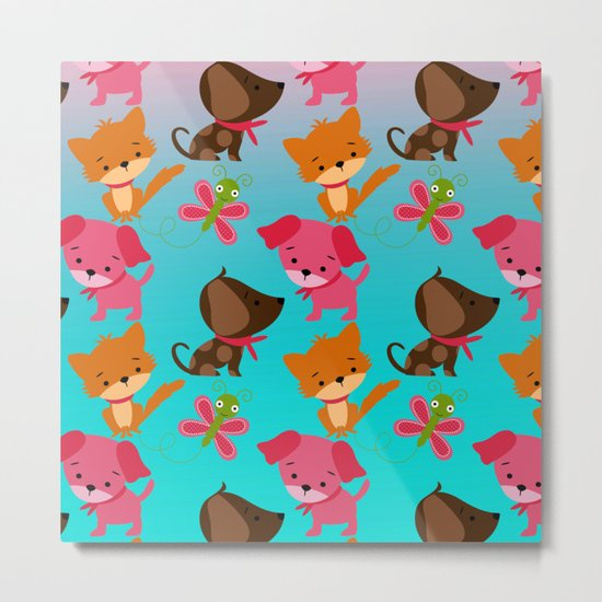 Kitty and Puppy Pattern Metal Print