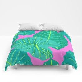 Giant Elephant Ear Leaves in Preppy Pink Comforters