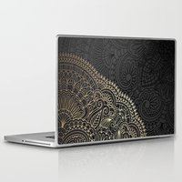 black and gold Laptop & iPad Skins featuring black & gold by Pink Berry Patterns