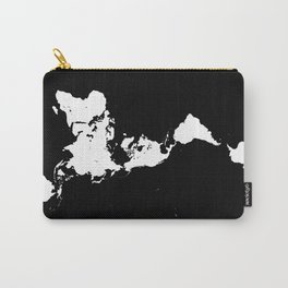 Dymaxion World Map (Fuller Projection Map) - Minimalist White on Black Carry-All Pouch