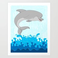 dolphin Art Prints featuring Dolphin by Finlay McNevin