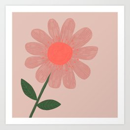 Painted Pink Flower Art Print