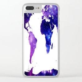 world map. (Blue Purple Galaxy) Clear iPhone Case