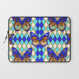 ARGYLE ABSTRACTED  BROWN SPICE  MONARCHS BUTTERFLY & BLUE-WHITE Laptop Sleeve