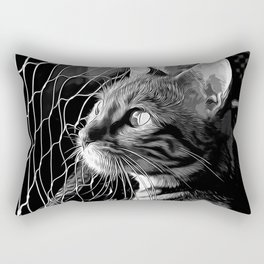bengal cat yearns for freedom vector art black white Rectangular Pillow