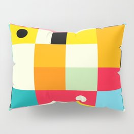 Geometric Bauhaus Pattern | Retro Arcade Video Game | Abstract Shapes Pillow Sham