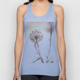 Pink Distant Dandelion Flower - Floral Nature Photography Art and Accessories Unisex Tank Top