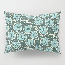Flower Bouquet Pattern Mint Green on Green Pillow Sham