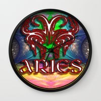 zodiac Wall Clocks featuring Aries Zodiac by CAP Artwork & Design