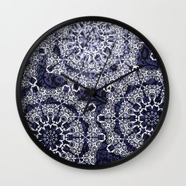 Origami & Porcelain Design Blue and White Floral Print Wall Clock
