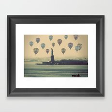 Balloons over Lady Liberty Framed Art Print