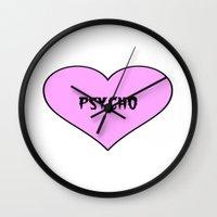 psycho Wall Clocks featuring Psycho by fyyff