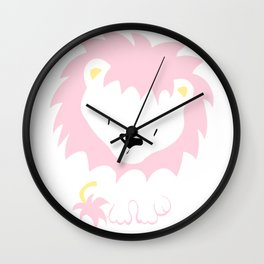 Pink Lion Wall Clock
