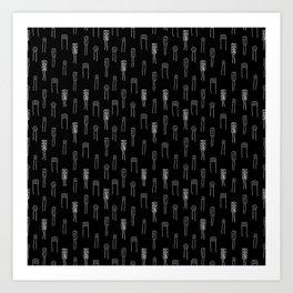 Capacitors - White on Black Art Print