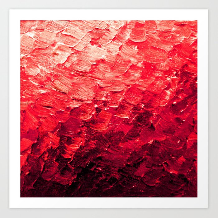 MERMAID SCALES 4 Red Vibrant Ocean Waves Splash Crimson Strawberry Summer Ombre Abstract Painting Art Print