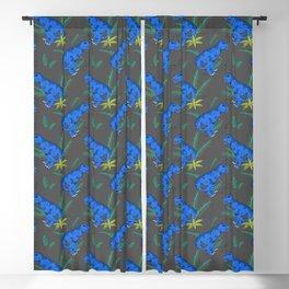 Blue T-Rex on Gray Blackout Curtain