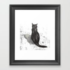 black cat shadow Framed Art Print