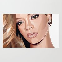 rihanna Area & Throw Rugs featuring rihanna by elena sofia melo