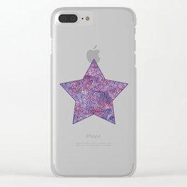 Dark purple swirls doodles Clear iPhone Case
