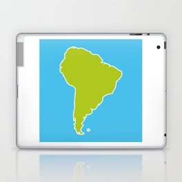 South America map blue ocean and green continent. Vector illustration Laptop & iPad Skin