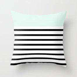 Pinstripe Color Block (Mint) Throw Pillow