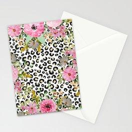 Elegant leopard print and floral design Stationery Cards