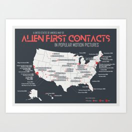 Alien First Contacts in Popular Motion Pictures - USA Edition Art Print