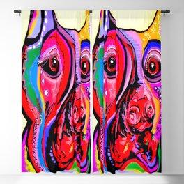 Doberman Pinscher Close Up Bright Colors Blackout Curtain