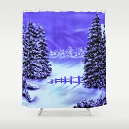Moon Over The Mountain Shower Curtain