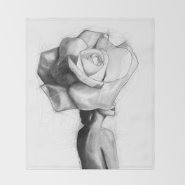 The woman with the head of a rose - Christy Turlington Throw Blanket