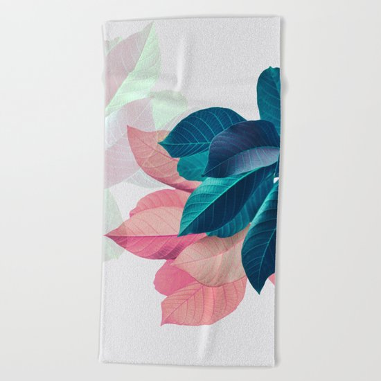 Pink and Blue Leaf Beach Towel