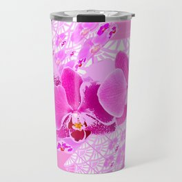 CERISE PINK ORCHID FLOWERS  WHITE PATTERN ABSTRACT Travel Mug