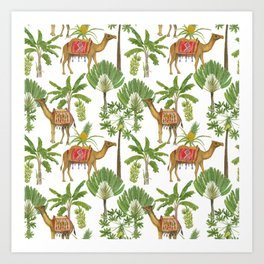 Camels and palms Art Print