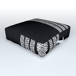 Cable Stripe Black Outdoor Floor Cushion