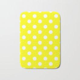 Polka Dots - White on Yellow Bath Mat