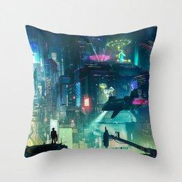 Cyberpunk City Throw Pillow