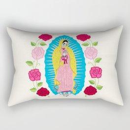 Skull Virgin of Guadalupe_ Hand embroidered Rectangular Pillow